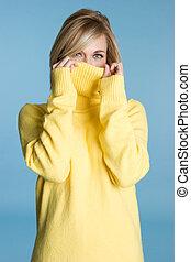 Sweater Girl - Pretty girl wearing yellow sweater