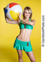 Beach Ball Girl - Blond girl holding beach ball