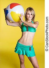 Beach Ball Girl - Blond girl holding beach ball