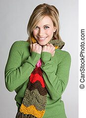 Smiling Scarf Woman - Smiling pretty woman wearing scarf