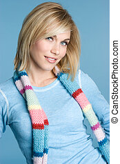 Blond Scarf Woman