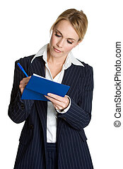 Woman Writing Check - Isolated business woman writing check