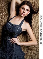 Fashion Woman - Fashion woman wearing denim dress