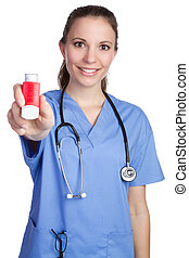 Nurse Holding Inhaler - Beautiful nurse holding asthma...