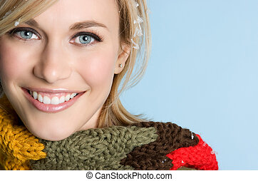 Smiling Woman - Smiling woman wearing winter scarf