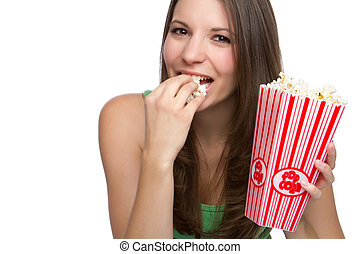 Popcorn Person - Beautiful happy person eating popcorn