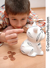 money box - child save coins to the money box, coin bank