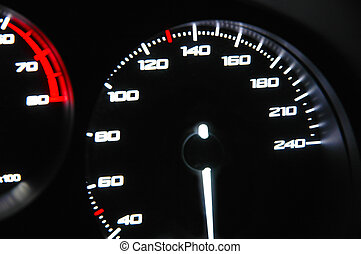 Speedometer in the cockpit of the car