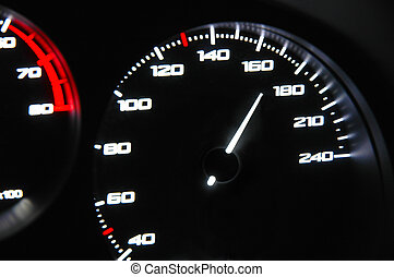 Speed - highlighted speedometer in the process of a car ride...