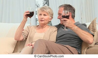 Lovely retired couple enjoying a glass of red wine in the...