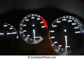 Gauges of the speed, the tachometer and indicators of the...