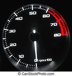 Tachometer - highlighted tachometer on the dashboard of the...