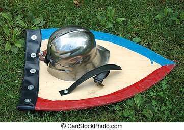 Helmet and shield - Knights helmet and shield