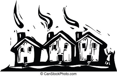 Three Houses - Three suburban houses in a woodcut style.