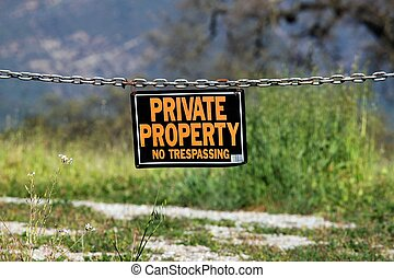 private property - black orange white private property...