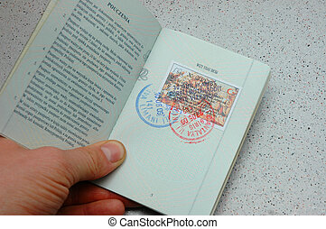 Visa inside of passport