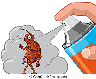 Spraying insecticide on cockroach - Isolated illustration...