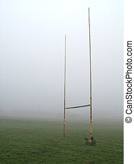 Foggy Rugby Goalposts - Rugby football goalposts on a foggy...