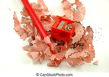 Sharpened pencil - Sharpened coloured pencil , sharpener and...