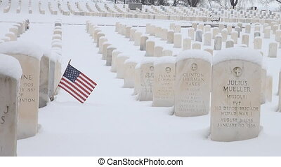 American flag on a grave stone - American flag on a grave...