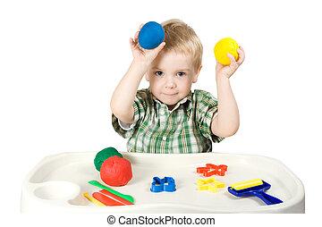 Plasticine, feliz, juego, niño