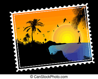 Tropical paradise Postal stamp - Tropical paradise postal...