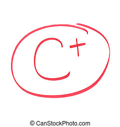 C Plus Grade - A handwritten grade for average achievements