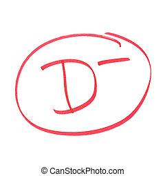 D Minus Grade - A handwritten grade for poor achievements.