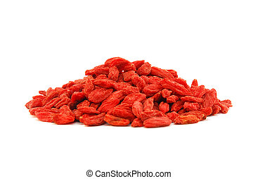 goji berries (lycium barbarum) isolated - pile of goji...