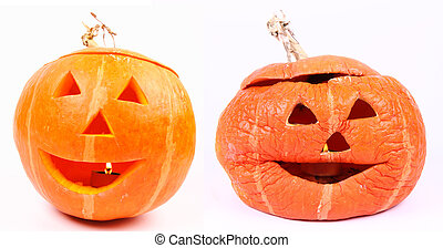 Jack-o-lantern before and after halloween