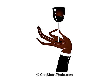 An illustration of a hand holding a wine glass under the...