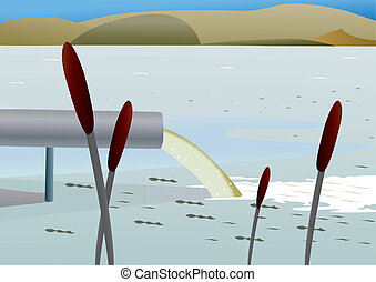 pollution of a lake - Vector illustration of sewage from the...