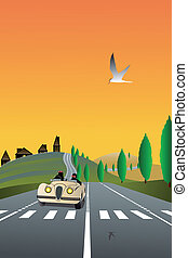 country road - Vector illustration of country road