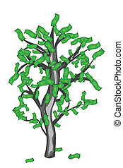 Vector illustration of money tree under the white background
