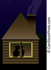 kissing couple - Vector illustration of kissing couple in...