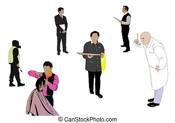 specialists of different professions - Vector illustration...