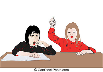 two girls - Vector illustration of two girls work in the...