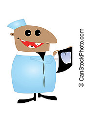 dental with bad teeth - Vector caricature of dental, who...