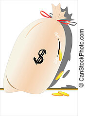 bag with the money - vector illustration of a torn bag with...