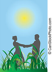 couple - Vector illustration of couple against sky and grass