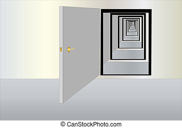 infinity doors - Vector illustration of infinity way fron...