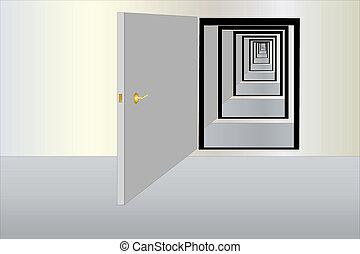 infinity doors - Vector illustration of infinity way fron...