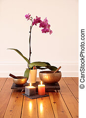 Orchids, candles and singing bowl - Orchid, orchid candles...