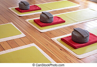 Yoga mats and Yoga Cushion - Close-up of yoga mats and yoga...