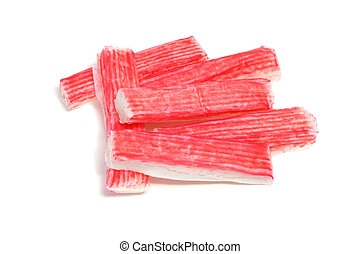 crab sticks - some red crab sticks on a white background