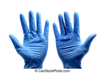 surgical gloves - someone wearing a pair of blue surgical...