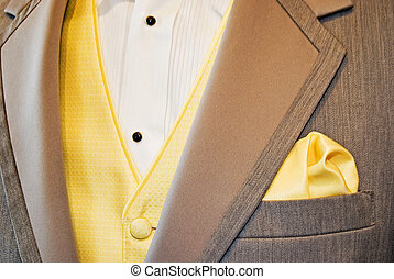 modern summer tuxedo - Yellow vest and handkerchief...