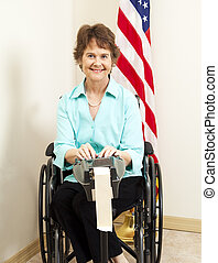 Court Reporter in Wheelchair - Disabled woman in wheelchair...