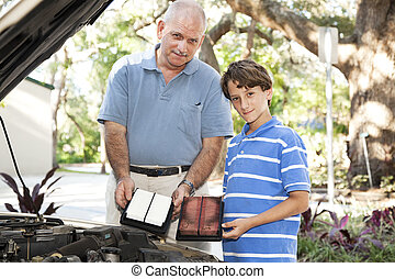 Dirty Auto Air Filter - Father and son changing the air...