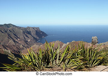 Coastline of Sandy Bay on St Helena - Looking down over New...
